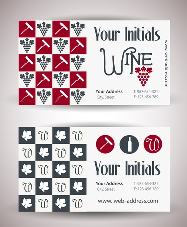 Vector retro vintage business card for wine business  Vector