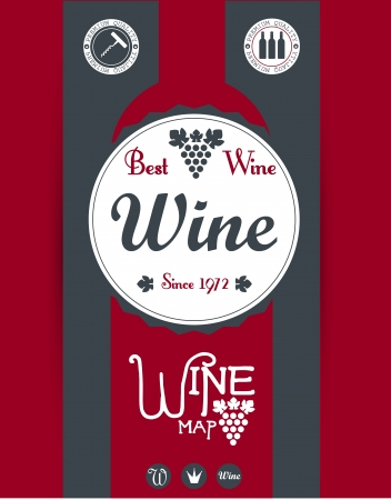 bottle screw: Wine map design  Vector Illustration