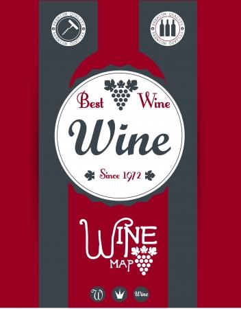 bottle screw: Wine map design  Vector Illustration
