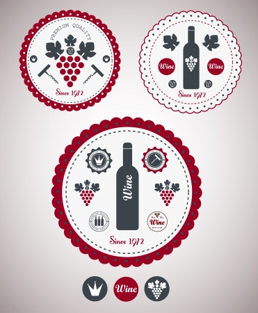 Collection of Premium Quality Wine Labels with retro vintage styled design Vector
