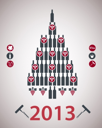 A new-year tree is done from bottles Vector