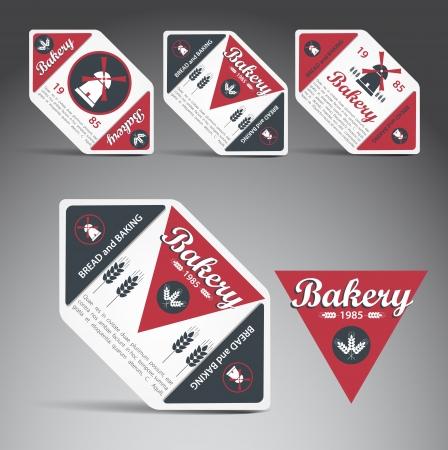 bakery store: Set of bakery labels  Vector Illustration