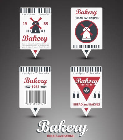 bar codes: Set of bakery labels  Vector Illustration