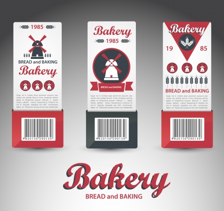 bakery price: Set of bakery labels  Vector Illustration