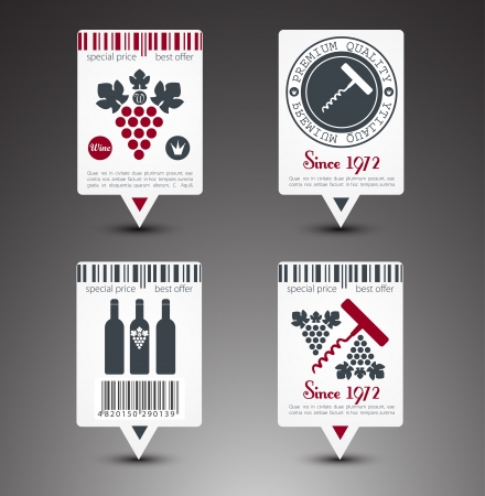 Set of wine labels  Vector Vector