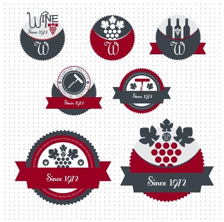 pane e vino: Set di vettore vino etichette