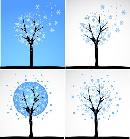 Snow tree  Vector set  Vector