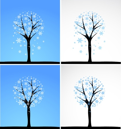 Snow tree  Vector set  Vector