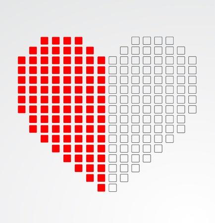 Pixel heart  Vector Stock Vector - 15939584