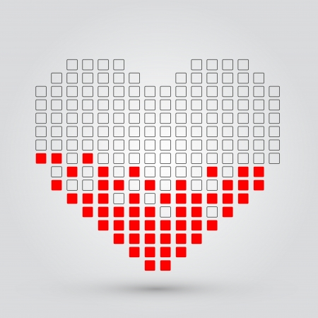 Pixel heart  Vector Stock Vector - 15939586