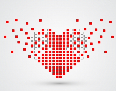 Pixel heart  Vector Stock Vector - 15939585