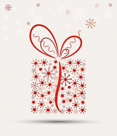 december holidays: Christmas present box made from snowflakes  vector