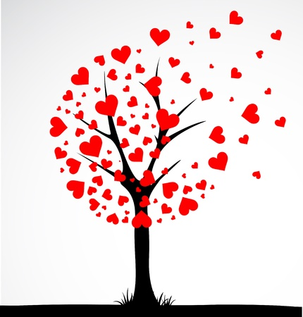 arbol de la vida: Árbol abstracto hecho con el corazón. Vector