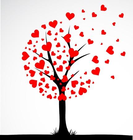 Resumo árvore feita com o coração. Vetor Ilustração