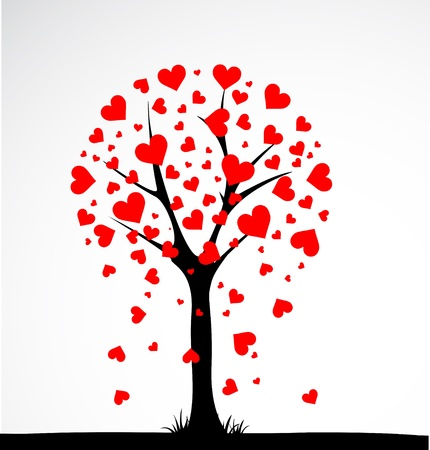 romance image: Abstract tree made with hearts. Vector
