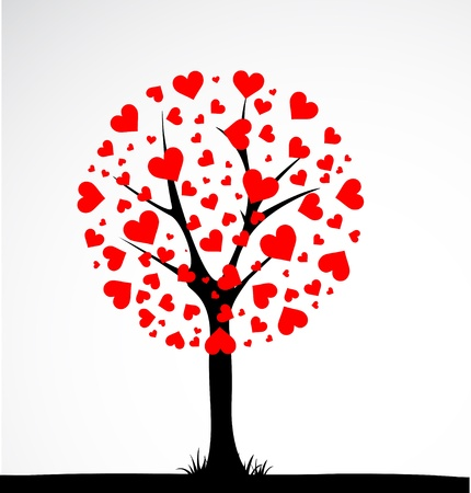 love tree: Abstract tree made with hearts. Vector