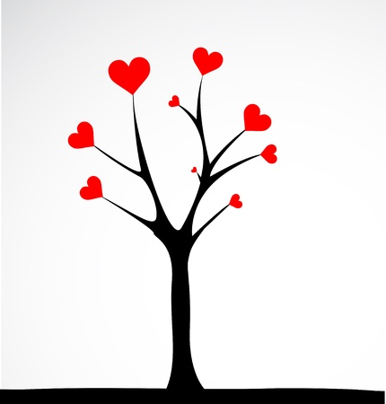 Abstract tree made with hearts. Vector Stock Vector - 16219675