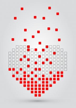 mosaic wall: Pixel heart. Vector