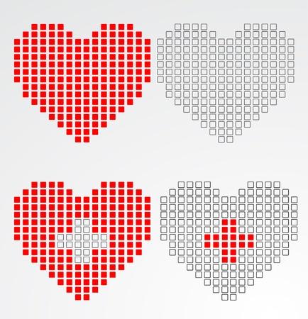 Pixel heart. Vector Stock Vector - 16219686
