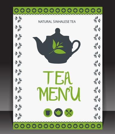 green tea cup: Tea menu. Vector Illustration