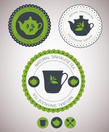 green tea leaf: Set of tea lables. Vector
