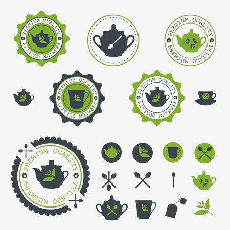green tea leaf: Set of tea lable. Vector