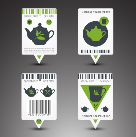 Set of tea labels. Vector Vector