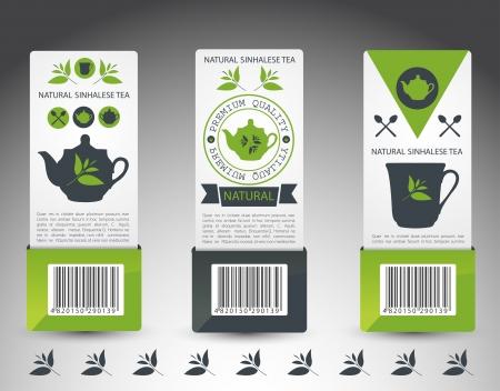 green tea leaf: Set of tea labels. Vector Illustration