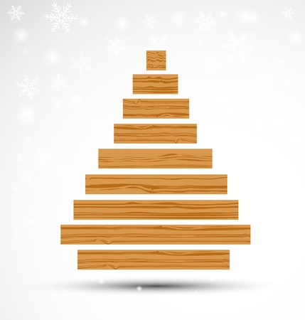 Abstract Wooden Christmas Tree. Vector Vector