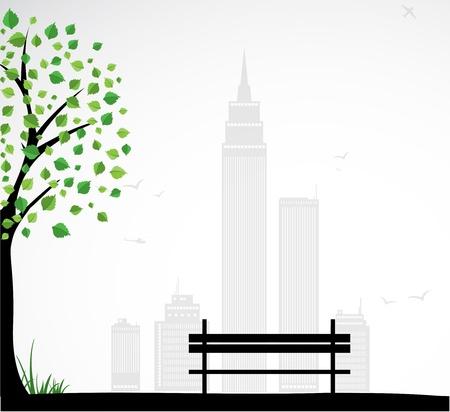 탁상: 추상적 인 나무와 도시 테마 배경입니다.