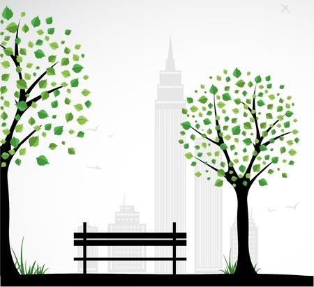 탁상: 추상적 인 나무와 도시 테마 배경입니다. 벡터