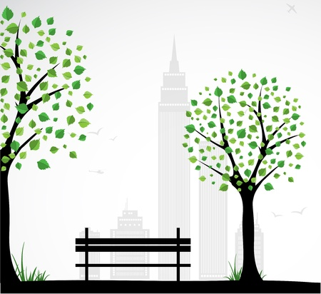 green park: City theme Background with abstract tree. Vector
