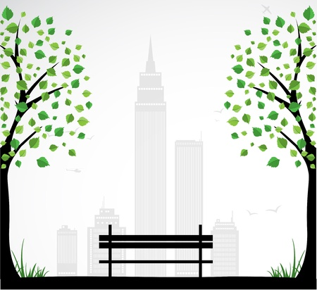 green park: City theme Background with abstract tree.