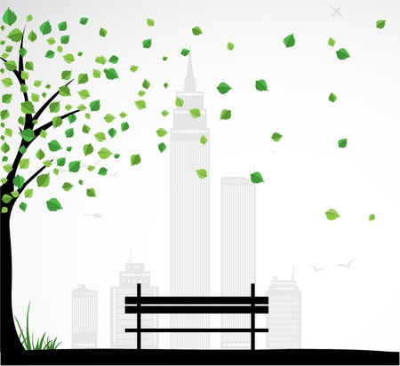 garden bench: City theme Background with abstract tree.