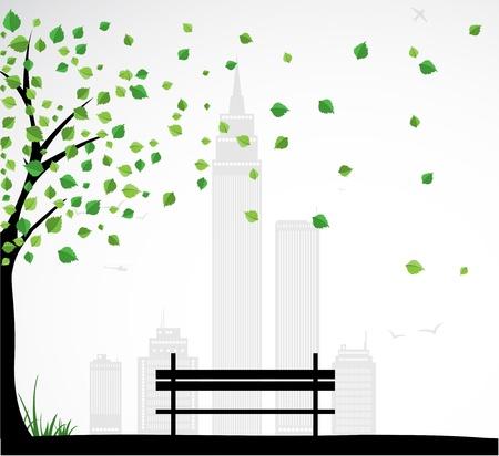 Contexte thème de la ville avec arbre abstrait.