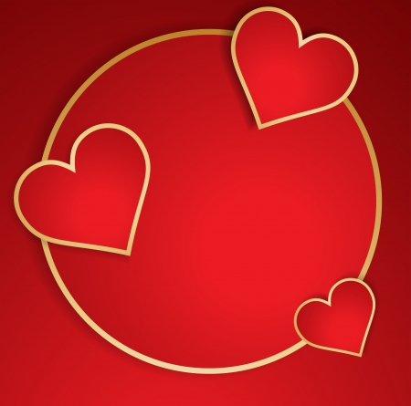 Red heart with golden border.  Vector