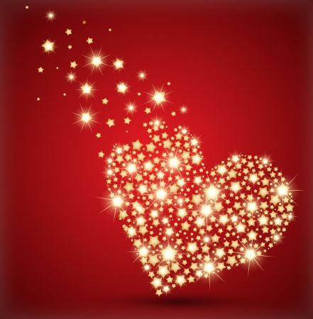 lux: Heart made with golden stars.  Illustration