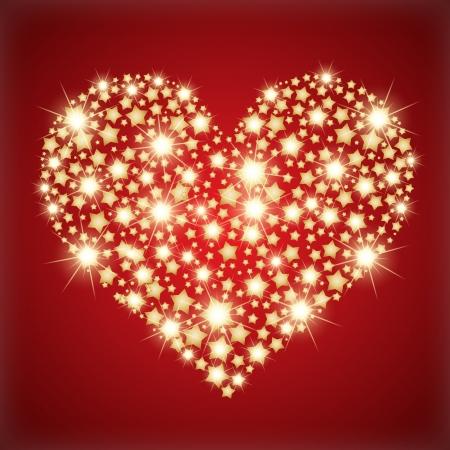 luxo: Coração feito com estrelas douradas.