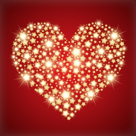 lux: Heart made with golden stars.