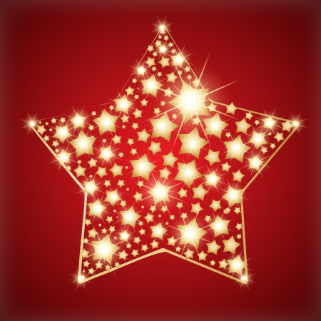 shining star: Star made with golden stars.  Illustration