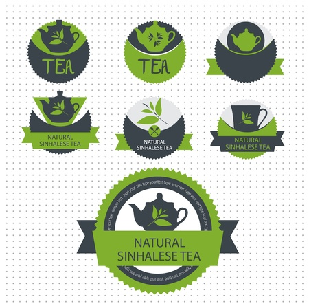 green tea leaf: Set of tea label.  Illustration