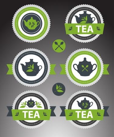 sugar spoon: Set of tea labels.
