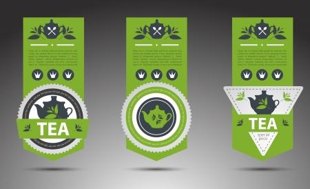 green tea leaf: Set of tea labels.