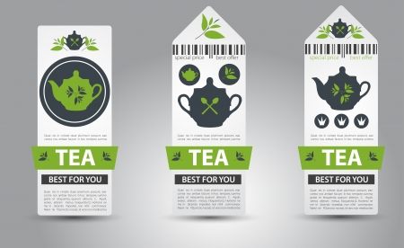 green tea leaf: Set of tea labels.