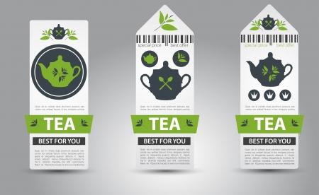 green leaves border: Set of tea labels.