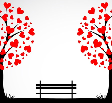 Abstract tree made with hearts with bench.  Illustration