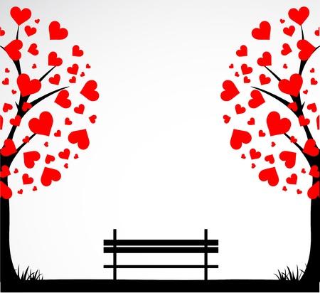 Albero astratta fatta con il cuore a banco.