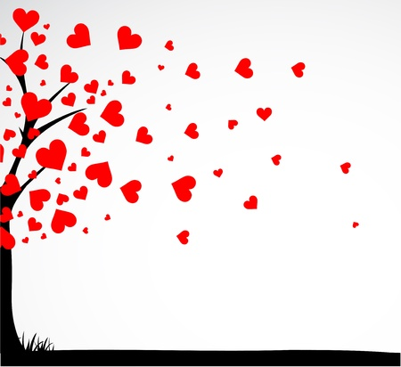 red trees: Abstract tree made with hearts with bench.  Illustration