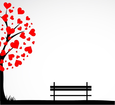 love image: Abstract tree made with hearts with bench. Illustration