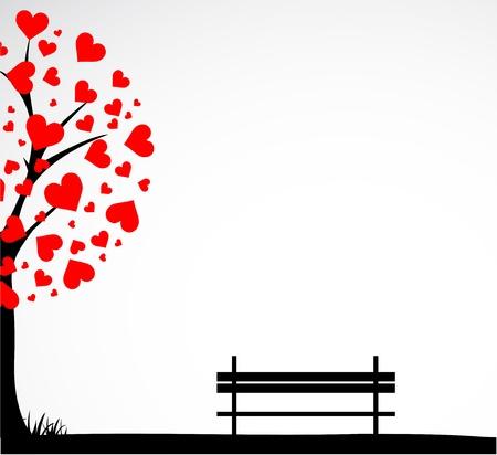 sweet love: �rbol abstracto hecho con corazones con banco.